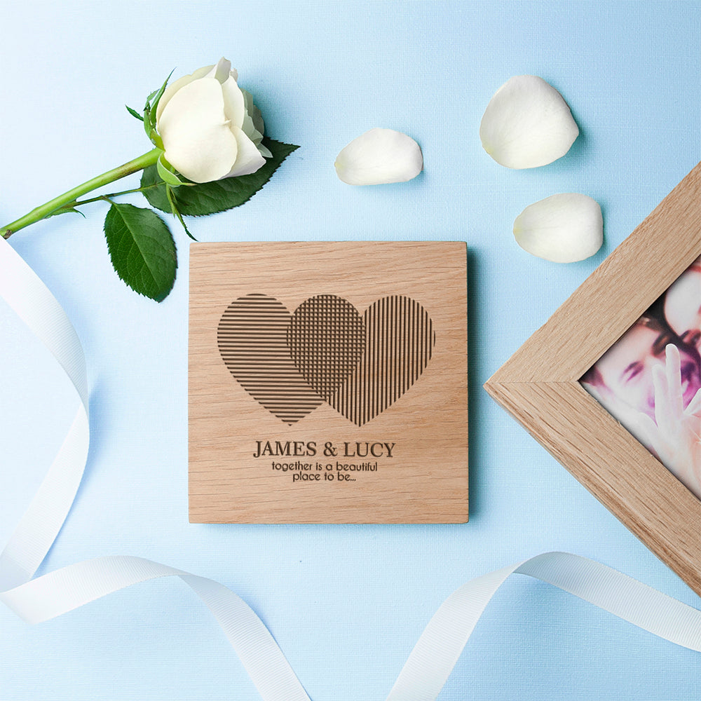 Personalised Heart Venn Diagram Oak  Photo Cube - treat-republic
