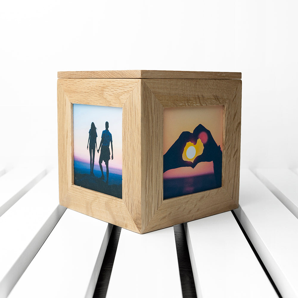 Personalised Carved Heart Oak Photo Cube - treat-republic