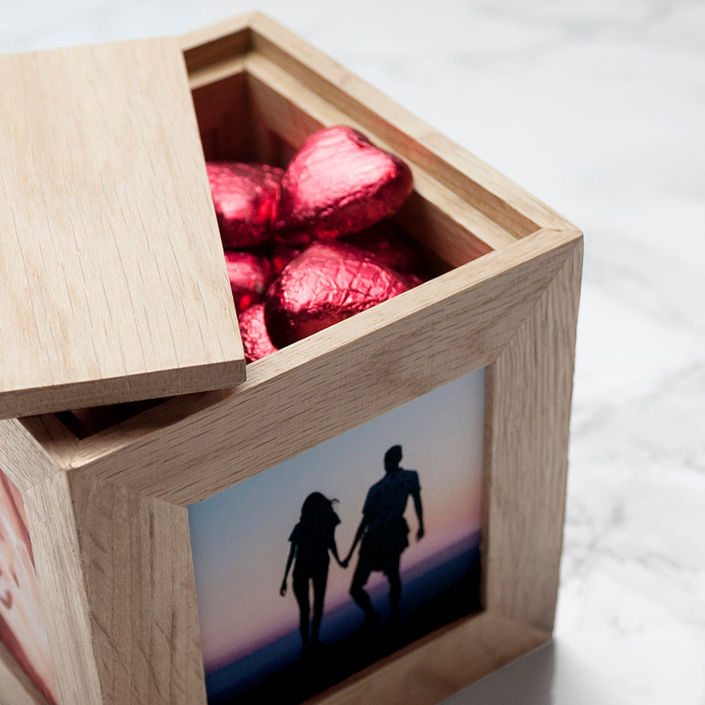 Personalised Romantic Heart Frame Oak Photo Cube - treat-republic