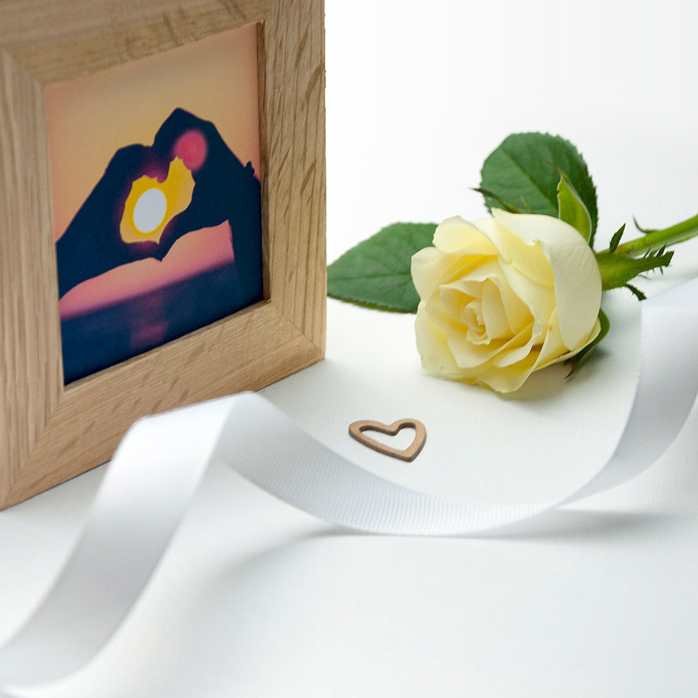 Personalised Romantic Floral Frame Oak Photo Cube - treat-republic