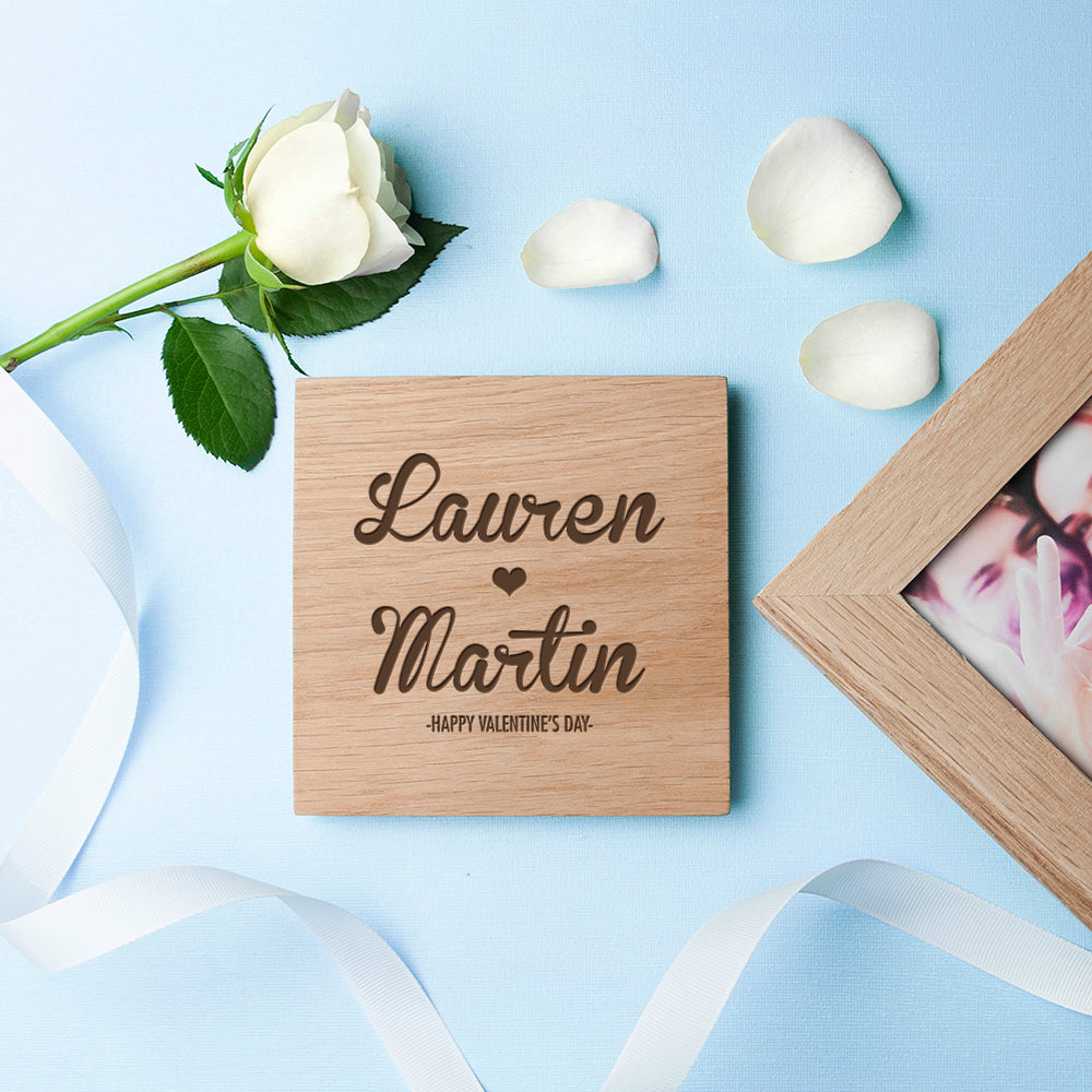 Personalised Couple's Names Oak Photo Cube