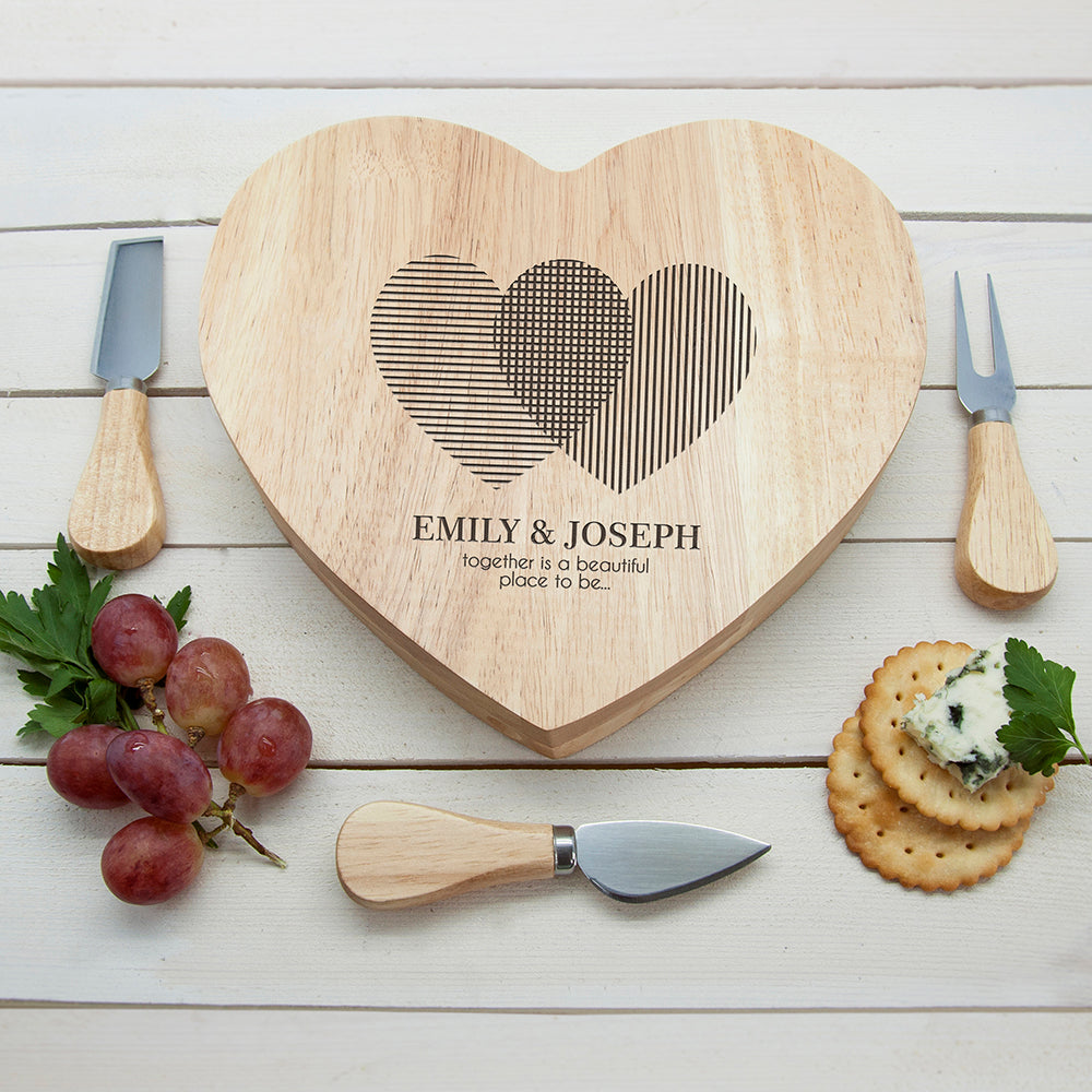 Engraved Heart Venn Diagram Heart Cheese Board - treat-republic