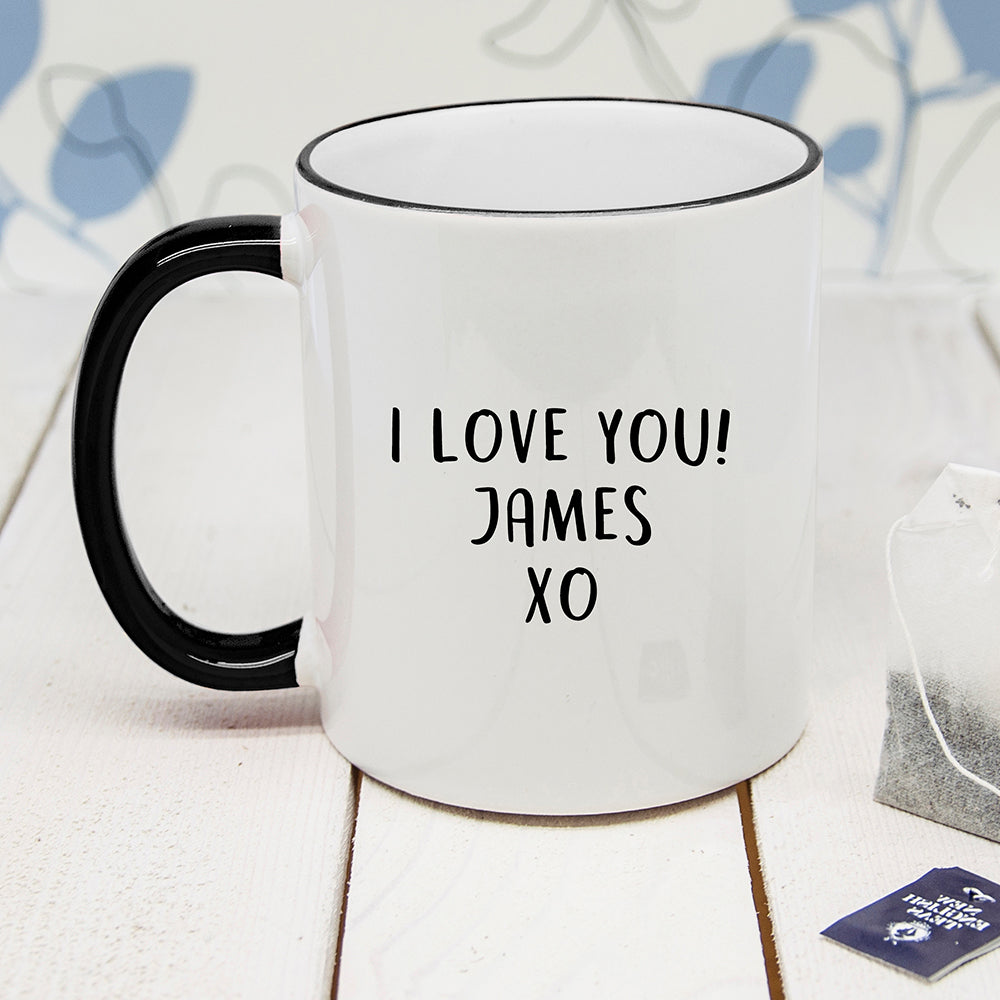Personalised Fine-Apple Black Rimmed Mug - treat-republic