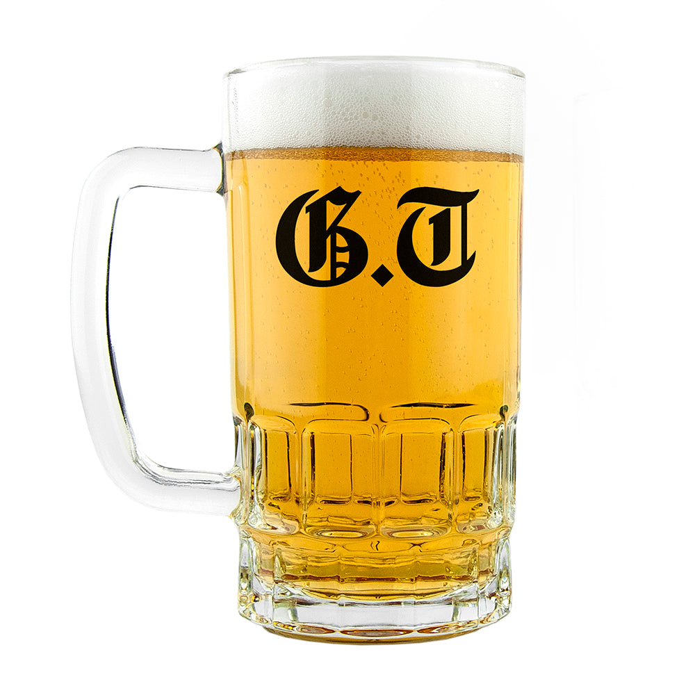 Medieval Text Monogram Beer Glass Tankard
