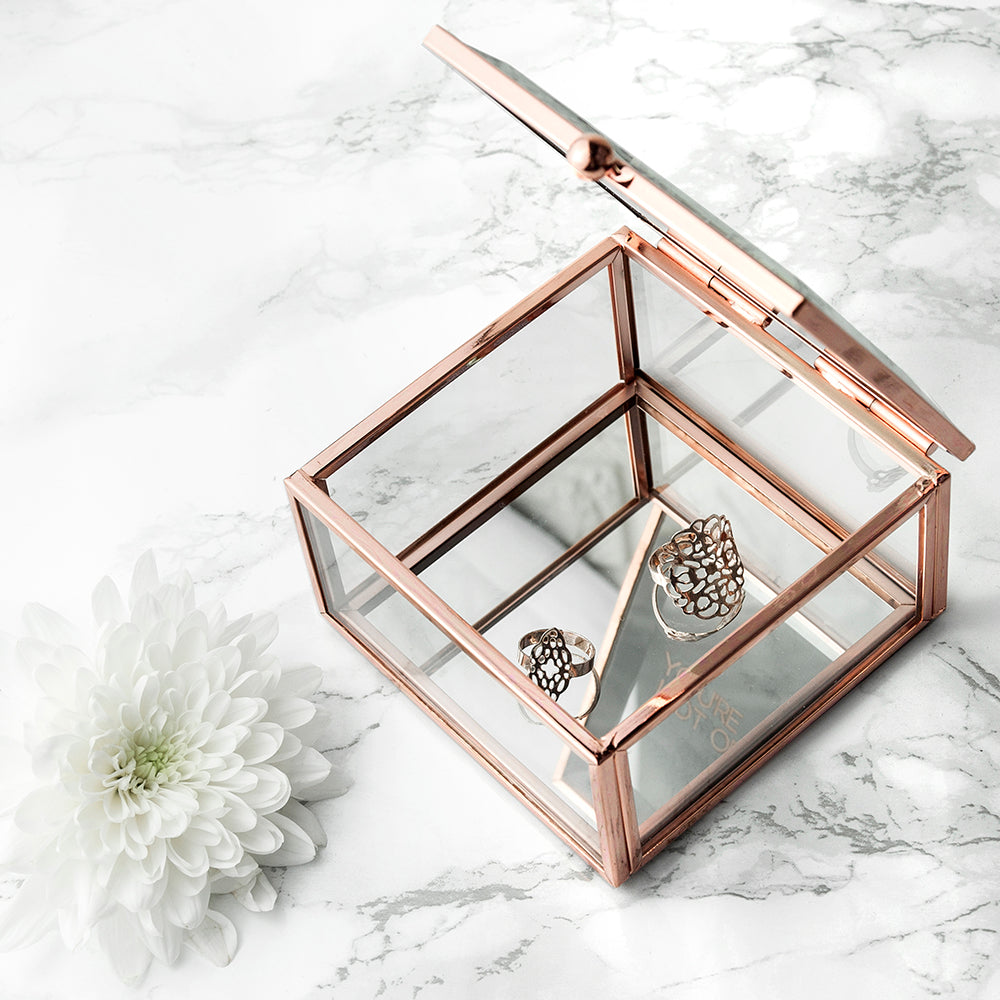 Personalised Rose Gold Glass Trinket Box - treat-republic