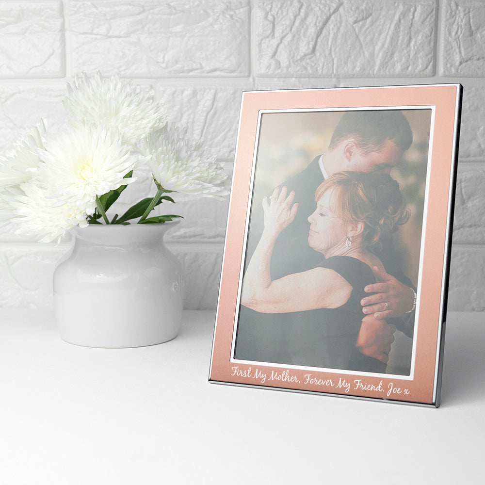 Personalised Medium Rose Gold Metal Photo Frame - treat-republic
