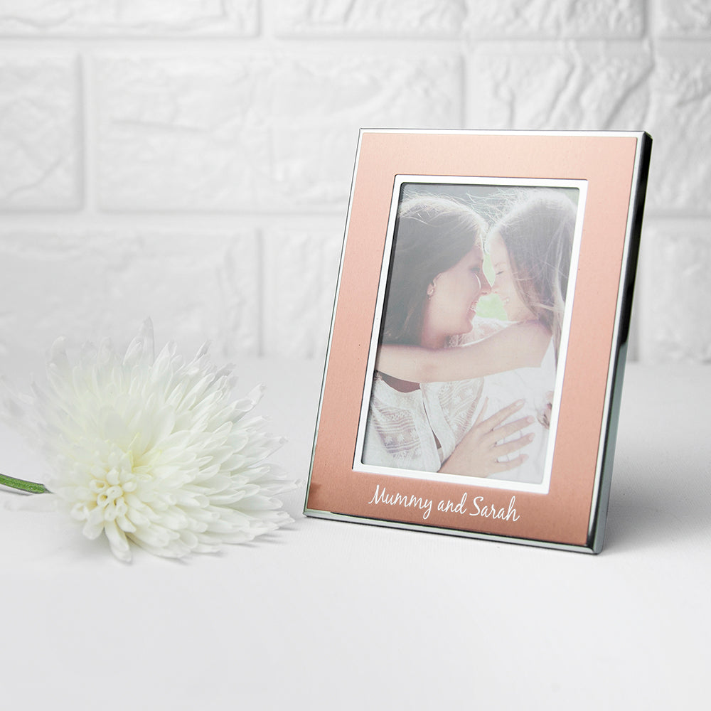 Personalised Small Rose Gold Metal Photo Frame - treat-republic