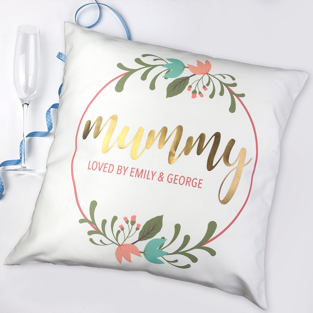 Personalised Floral Wreath Cushion Cover - treat-republic