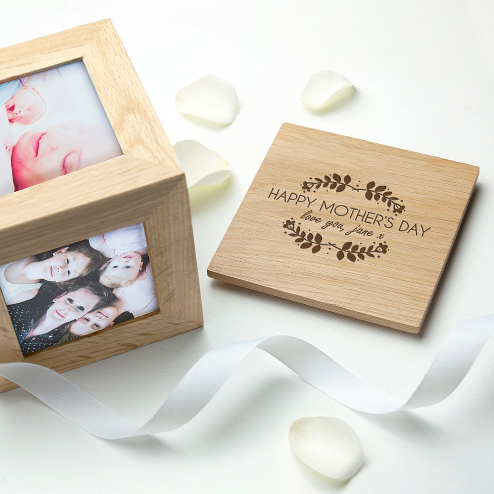 Personalised Happy Mother's Day Oak Photo Cube - treat-republic