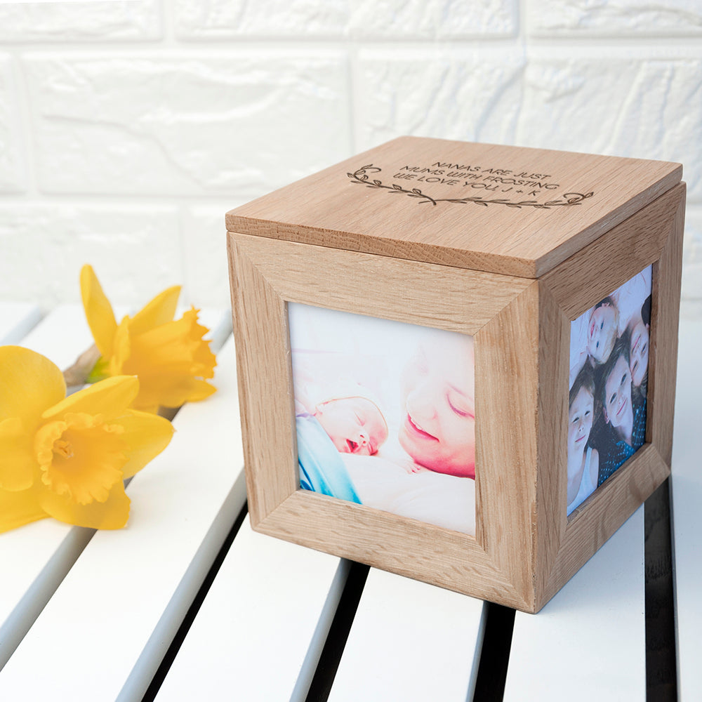 Personalised Mother's Love Oak Photo Cube