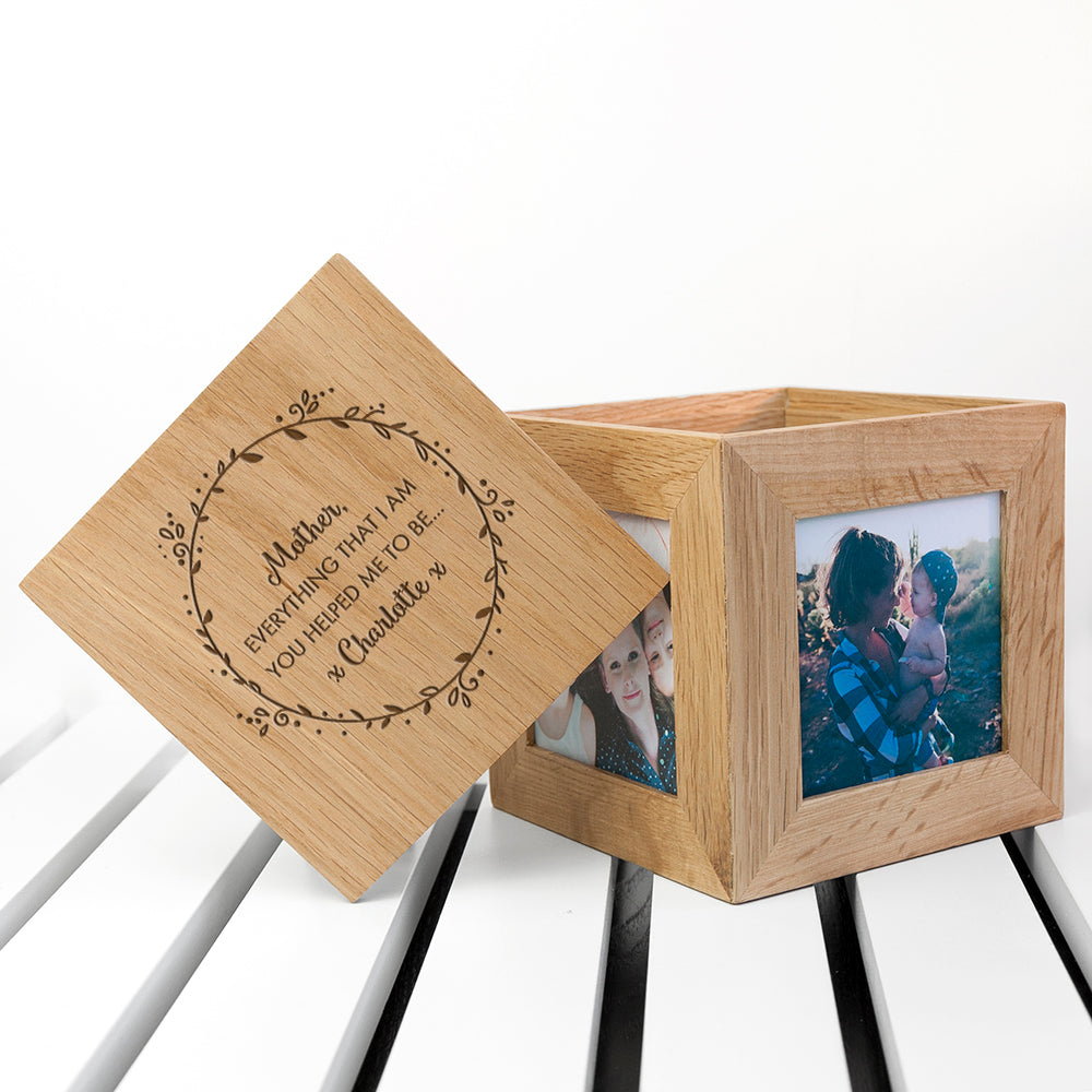 Personalised Thank You Mum Oak Photo Cube - treat-republic