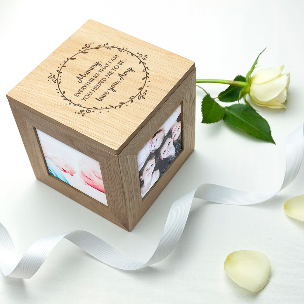Personalised Thank You Mum Oak Photo Cube