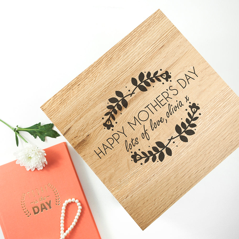 Personalised Happy Mother's Day Large Oak Photo Cube - treat-republic