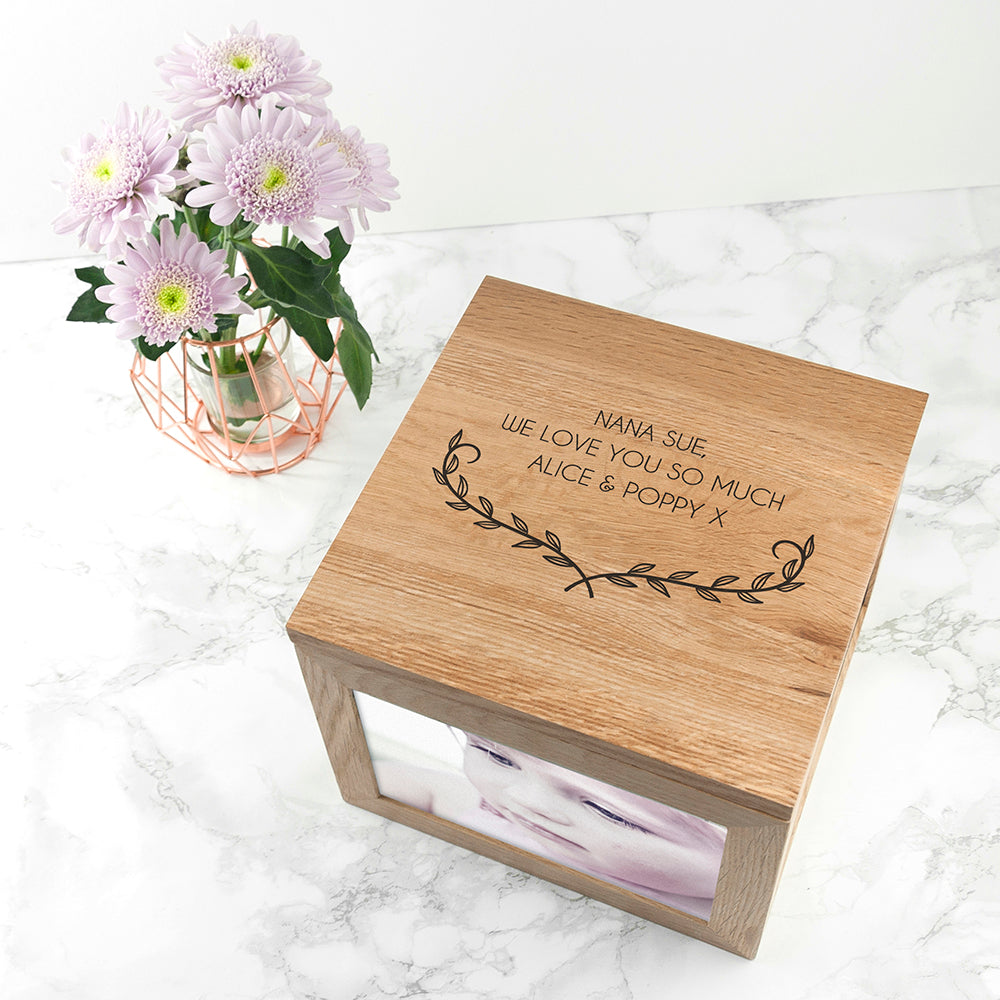 Personalised Mother's Love Large Oak Photo Cube - treat-republic