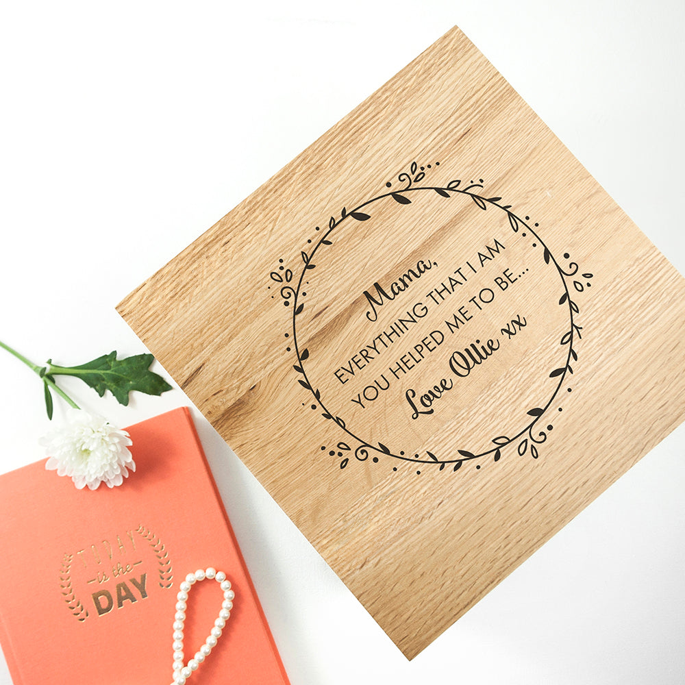 Personalised Thank You Mum Large Oak Photo Cube - treat-republic