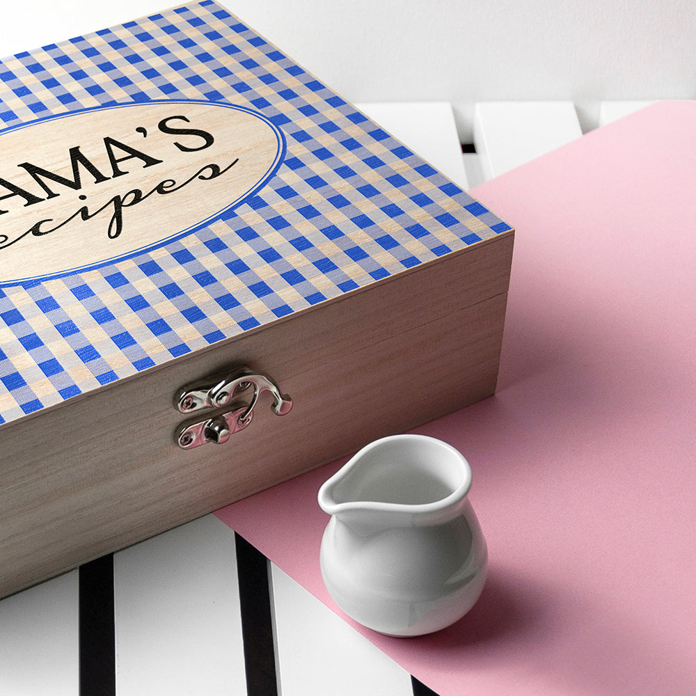 Personalised Gingham Blue Recipe Box - treat-republic