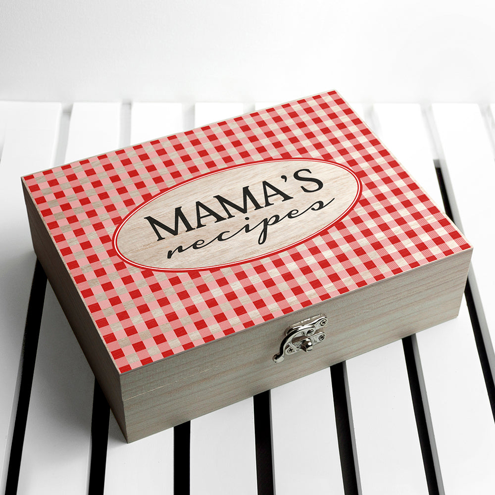 Personalised Gingham Red Recipe Box - treat-republic