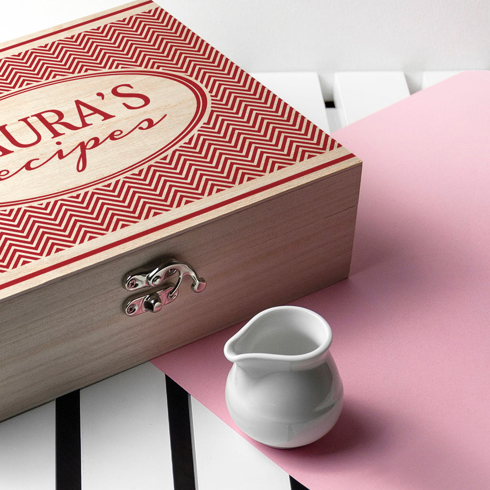 Personalised Retro Chevron Recipe Box - treat-republic