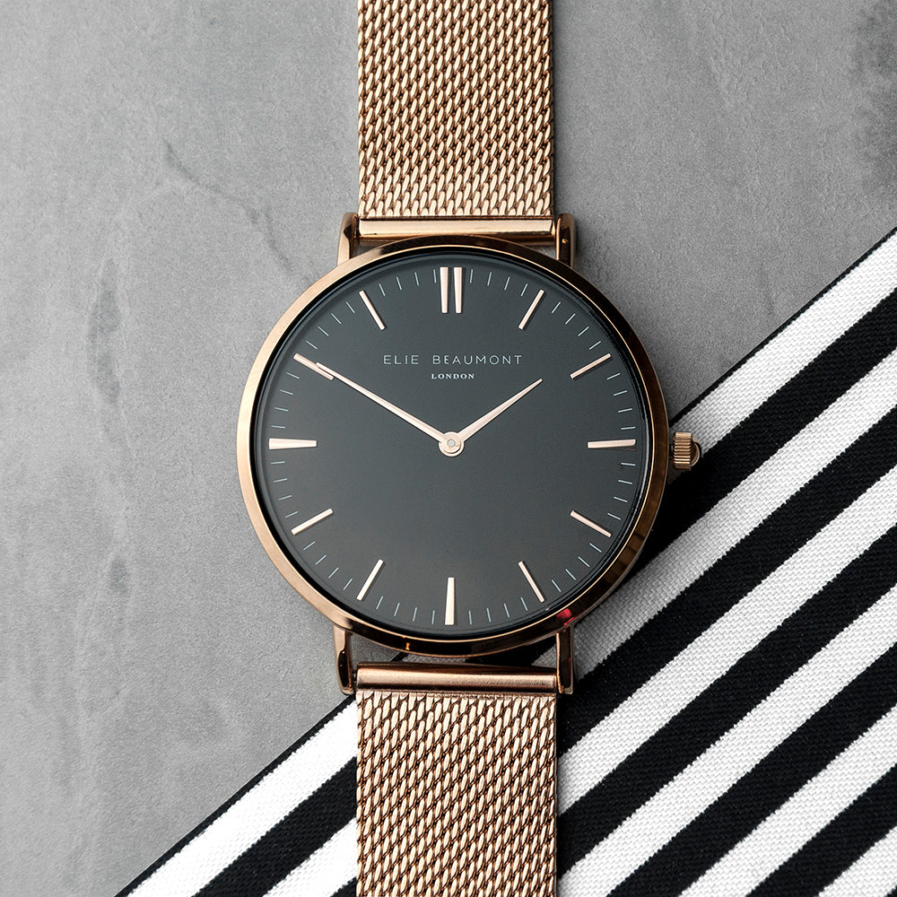 Elie Beaumont Personalised Ladies Rose Gold Mesh Strapped Watch With Black Dial - treat-republic