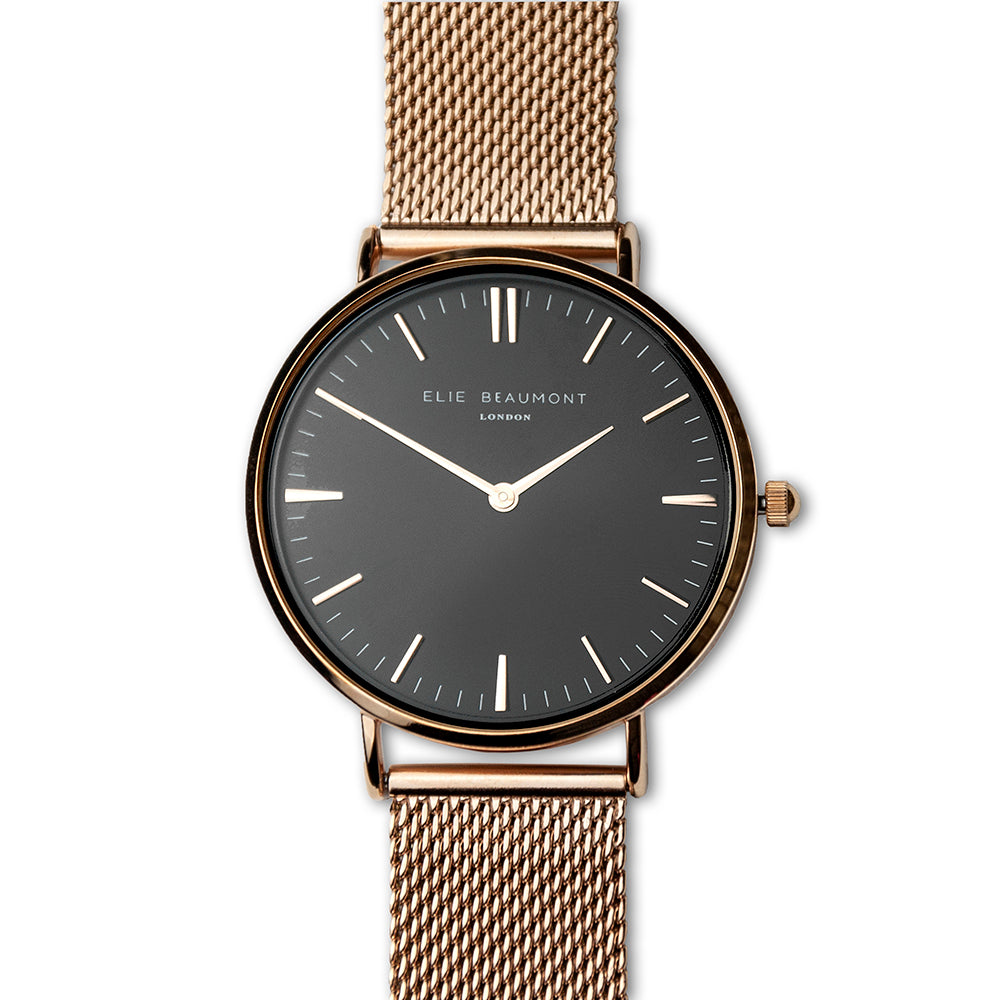 Personalised Ladies Rose Gold Mesh Strapped Watch With Black Dial - treat-republic