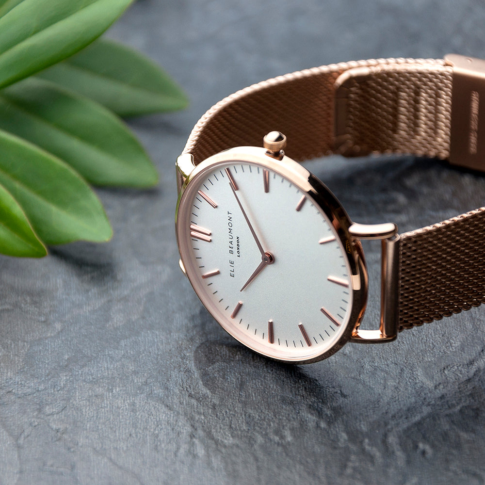 Personalised Rose Gold Mesh Strapped Watch With White Dial