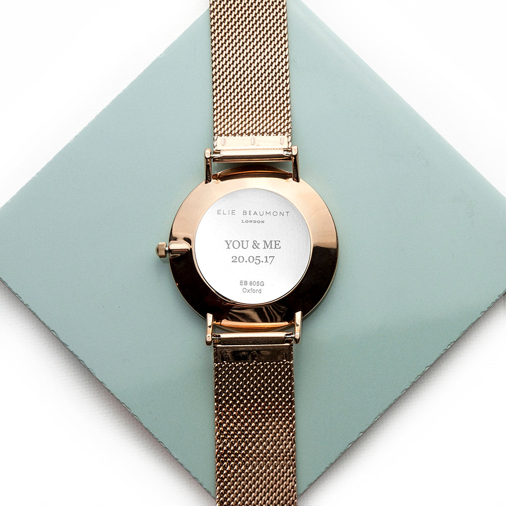 Elie Beaumont Personalised Ladies Rose Gold Mesh Strapped Watch With White Dial - treat-republic