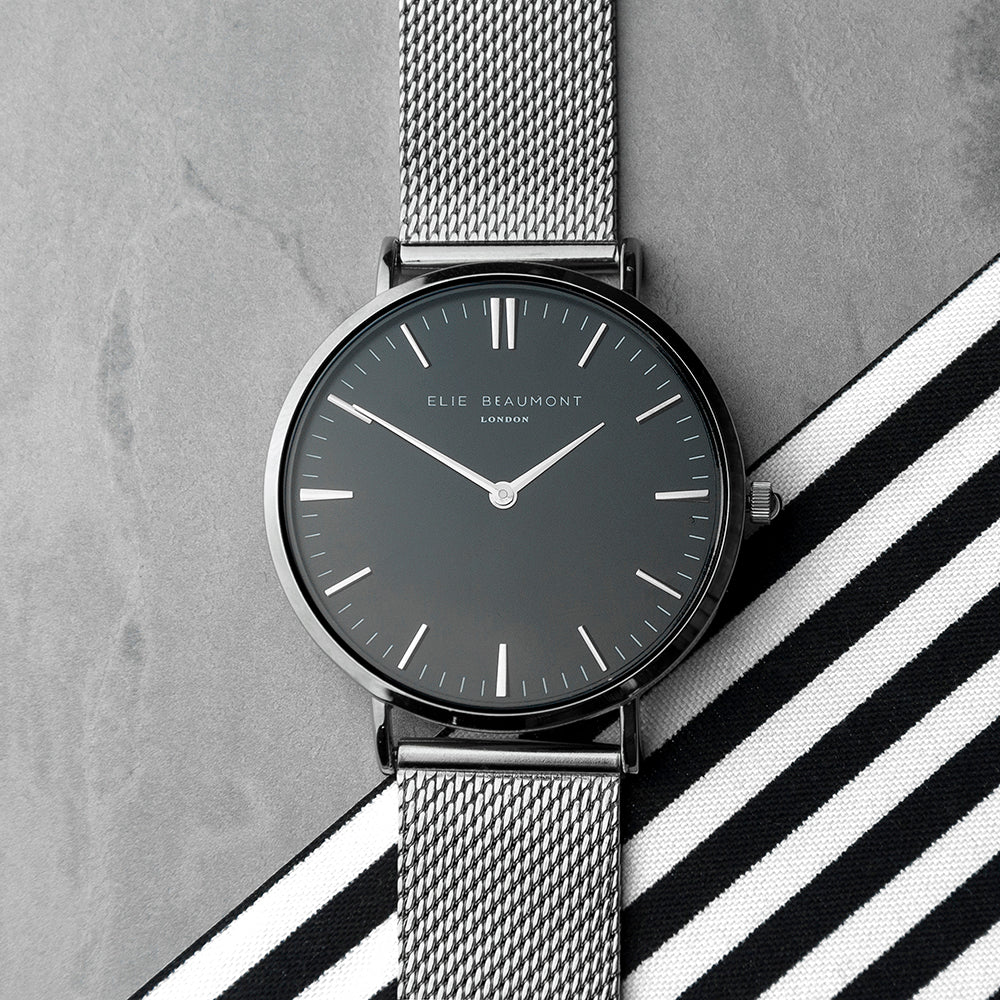 Elie Beaumont Personalised Ladies Metallic Mesh Strapped Watch With Black Dial - treat-republic