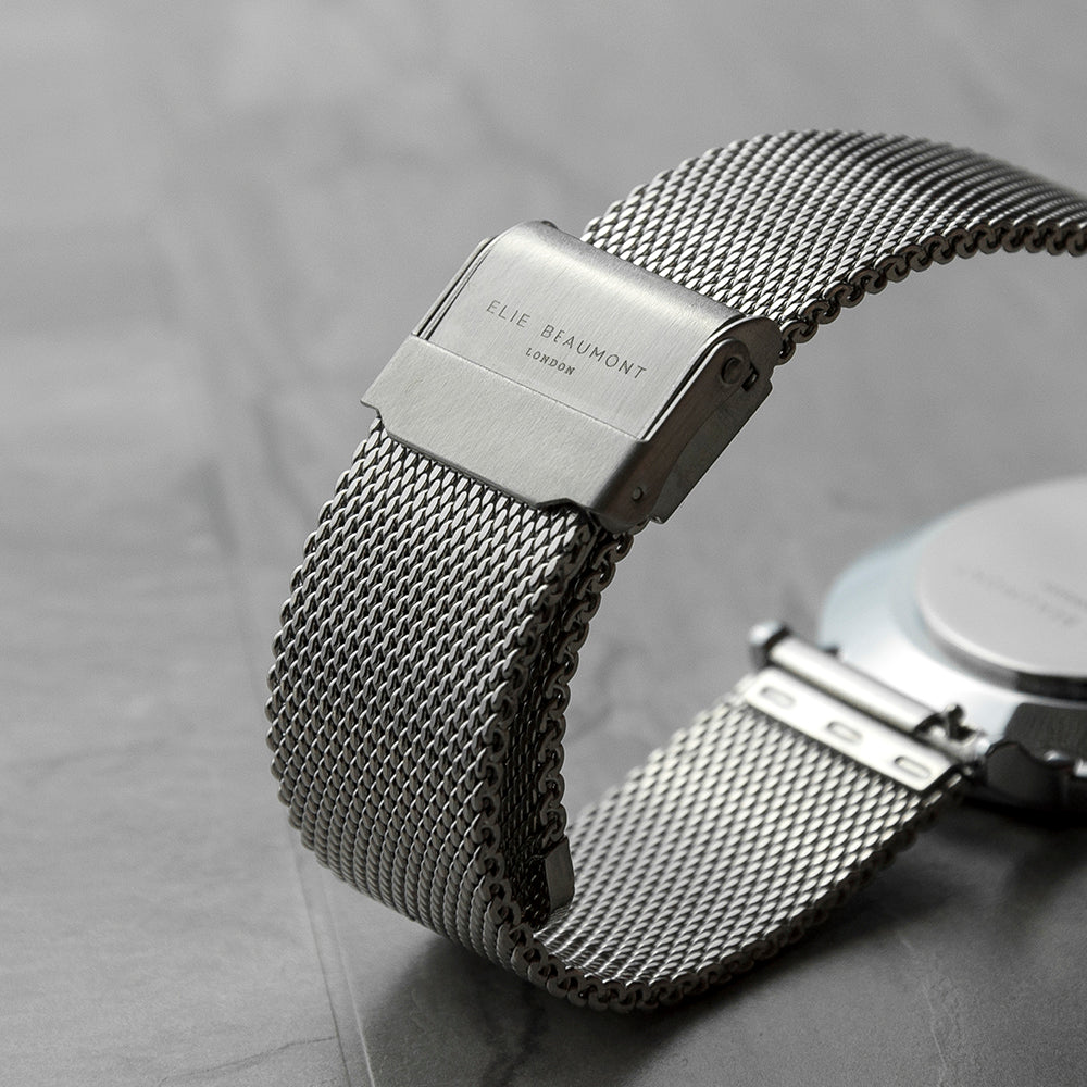 Personalised Metallic Mesh Strapped Watch With White Dial