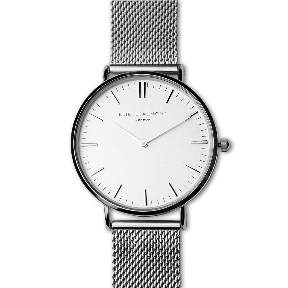 Elie Beaumont Personalised Ladies Metallic Mesh Strapped Watch With White Dial - treat-republic