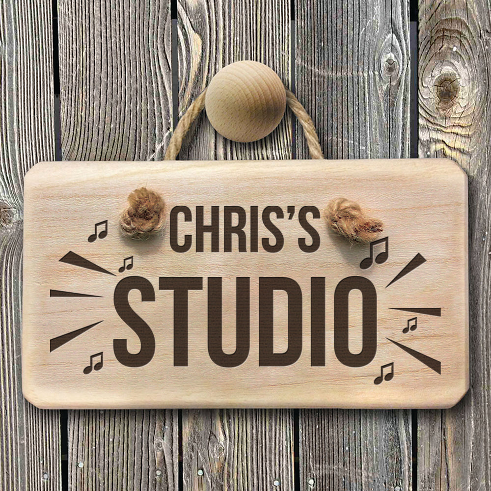 Personalised Wooden Music Studio Sign - treat-republic