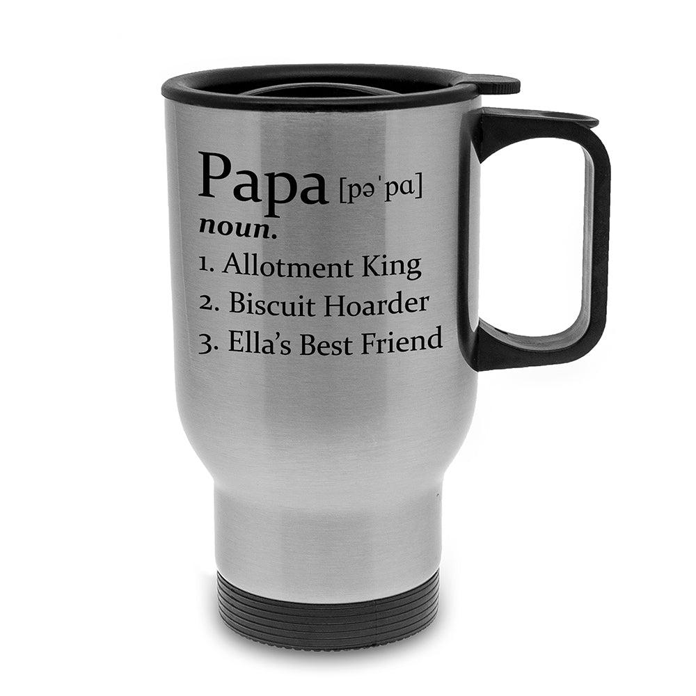 Definition of Dad Silver Travel Mug - treat-republic