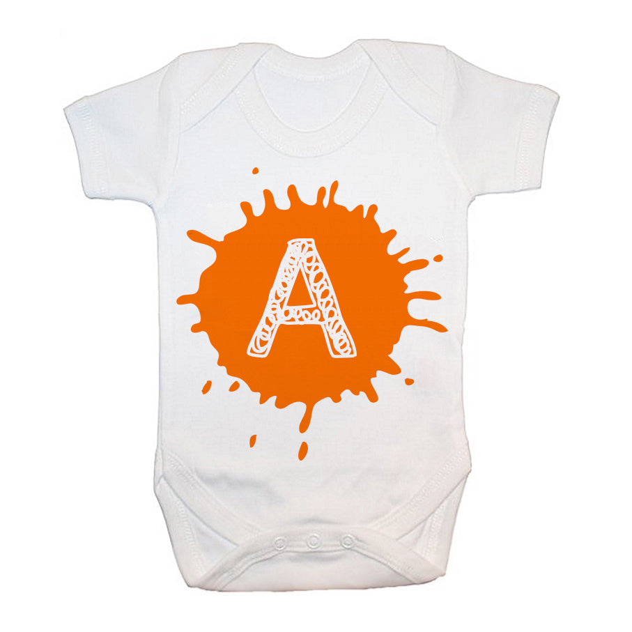 Personalised Splatter Initial Baby Grow - treat-republic
