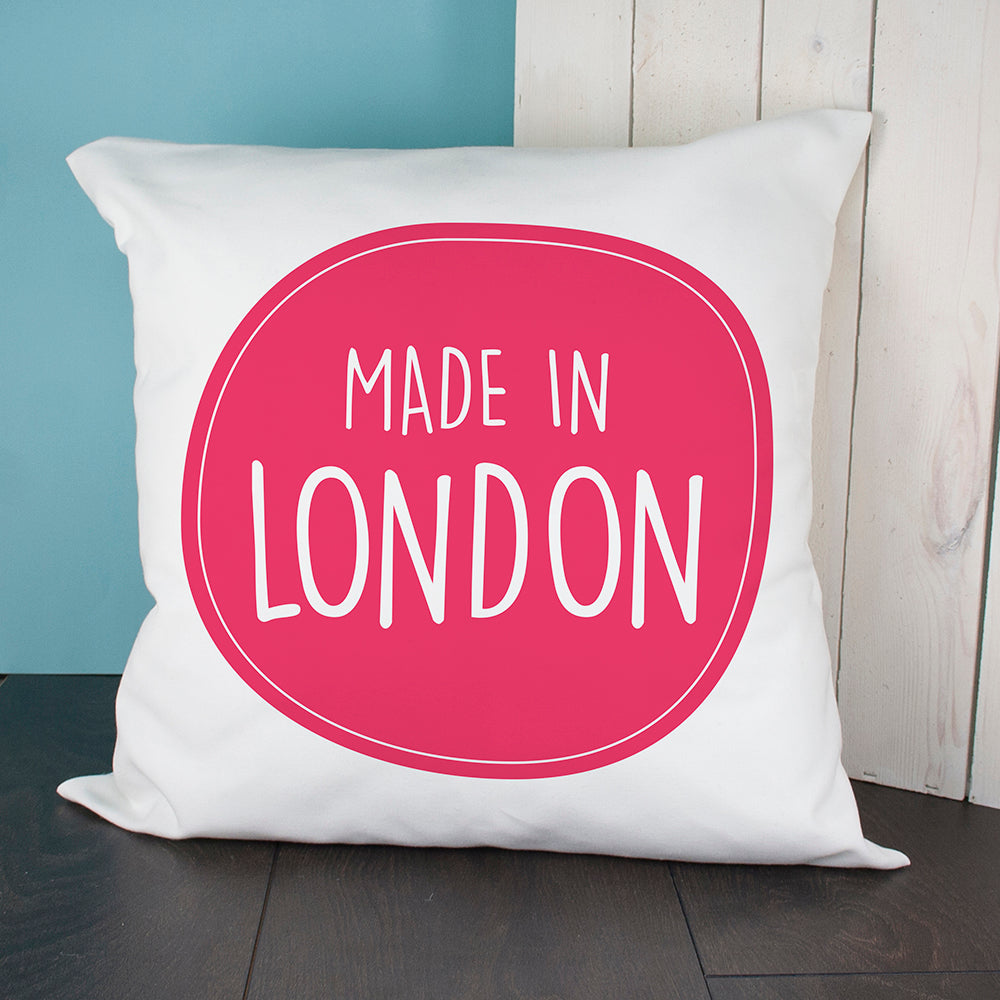Personalised Made In Cushion Cover