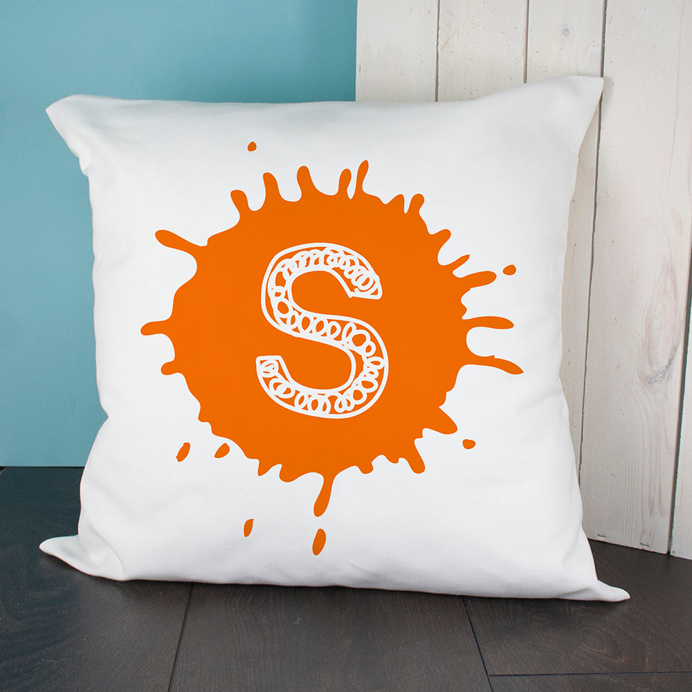 Personalised Splatter Initial Cushion Cover - treat-republic