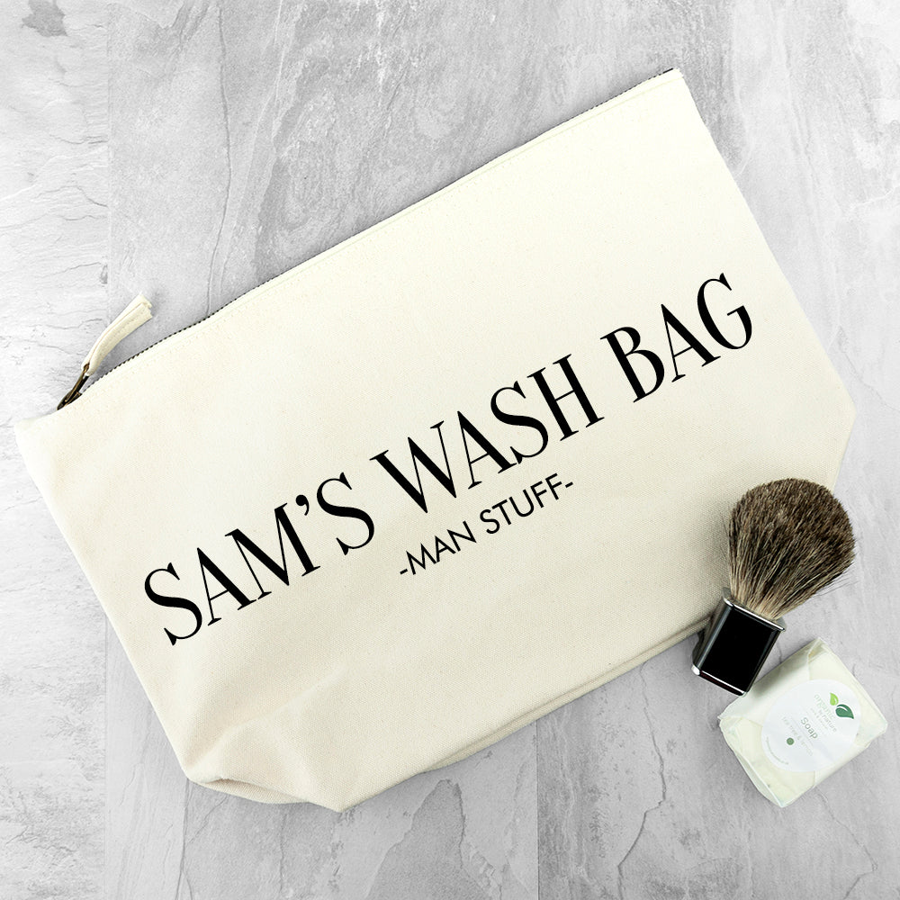 Personalised Men's Wash Bag in Cream - treat-republic