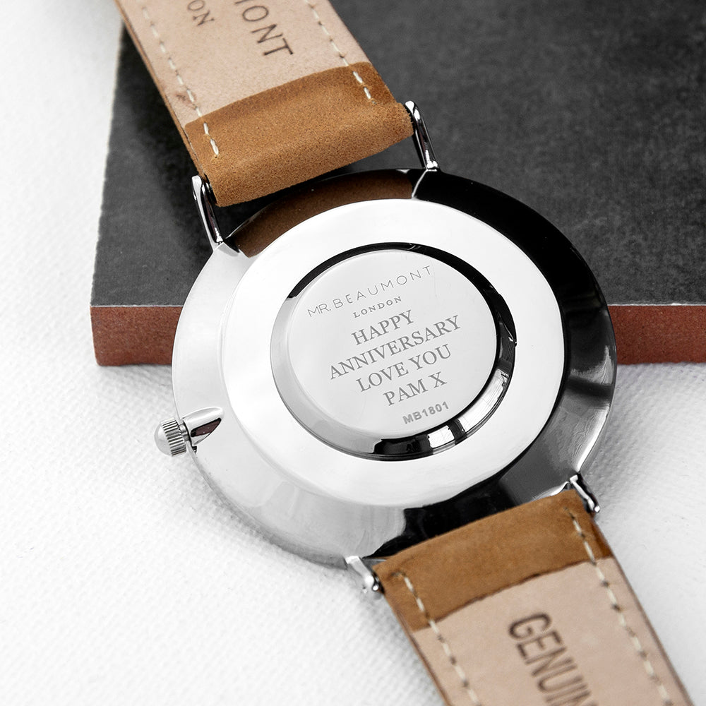 Men's Modern-Vintage Personalised Leather Watch In Camel