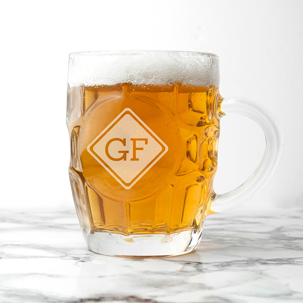 Diamond Monogrammed Dimpled Beer Glass - treat-republic