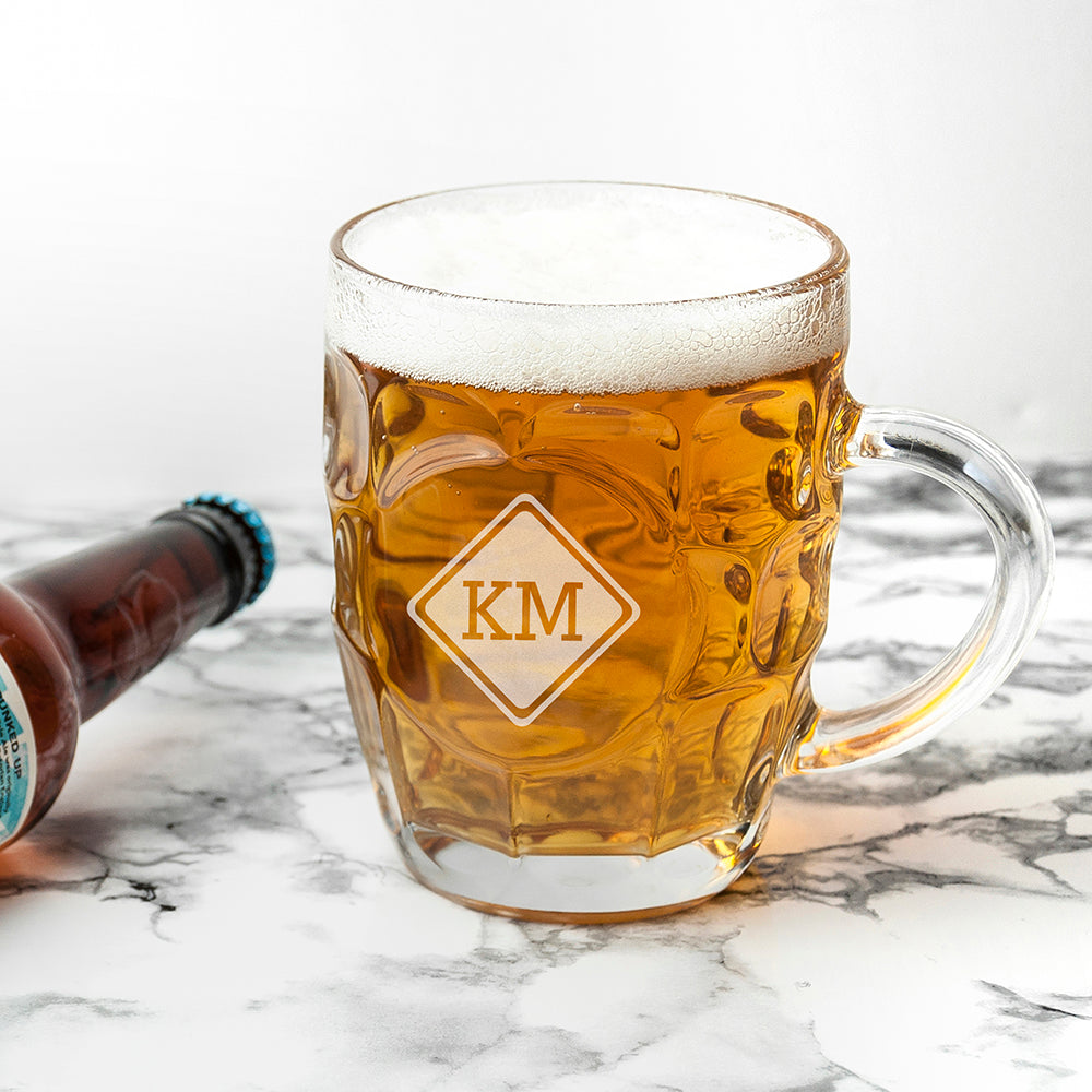 Diamond Monogrammed Dimpled Beer Glass