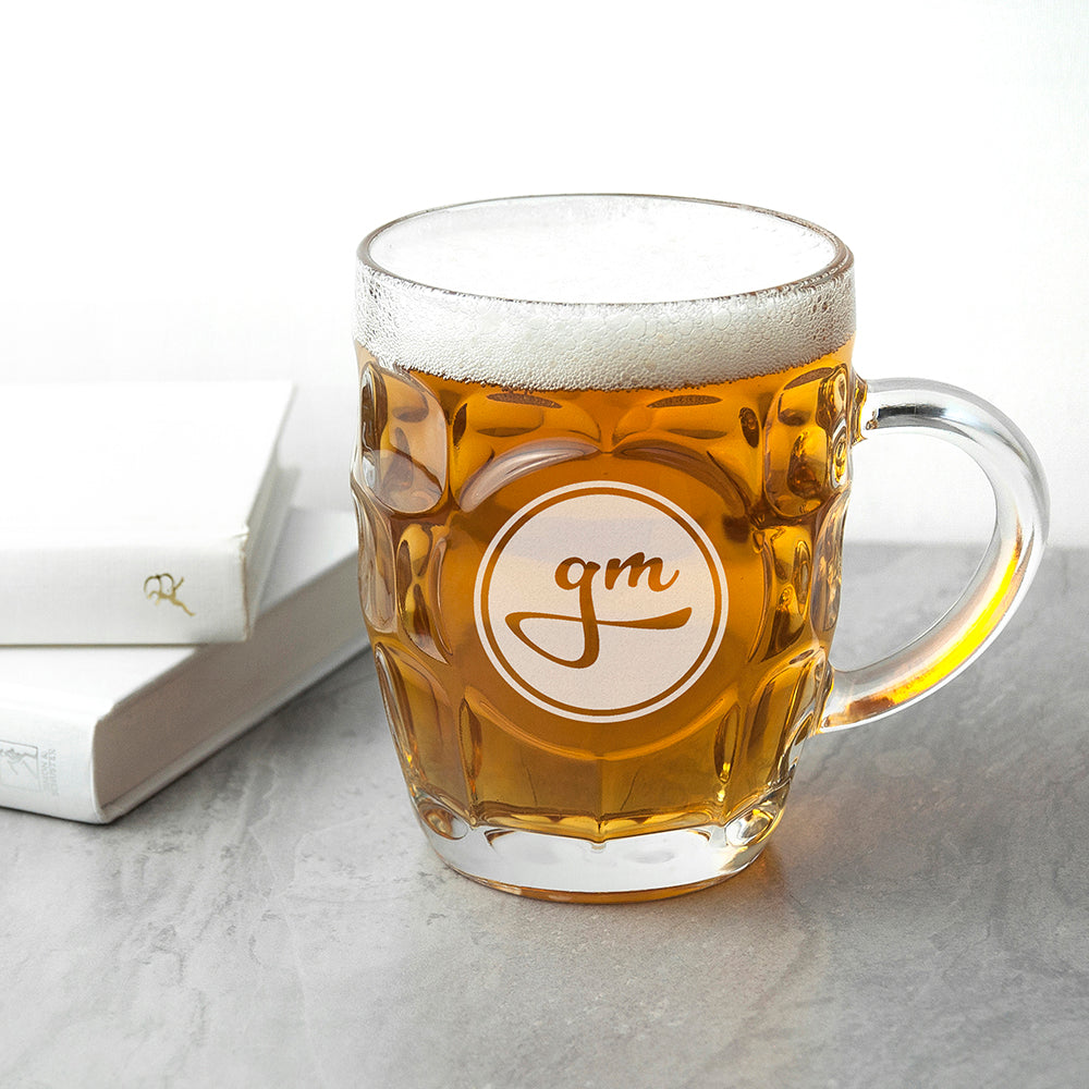 Round Monogrammed Dimpled Beer Glass - treat-republic