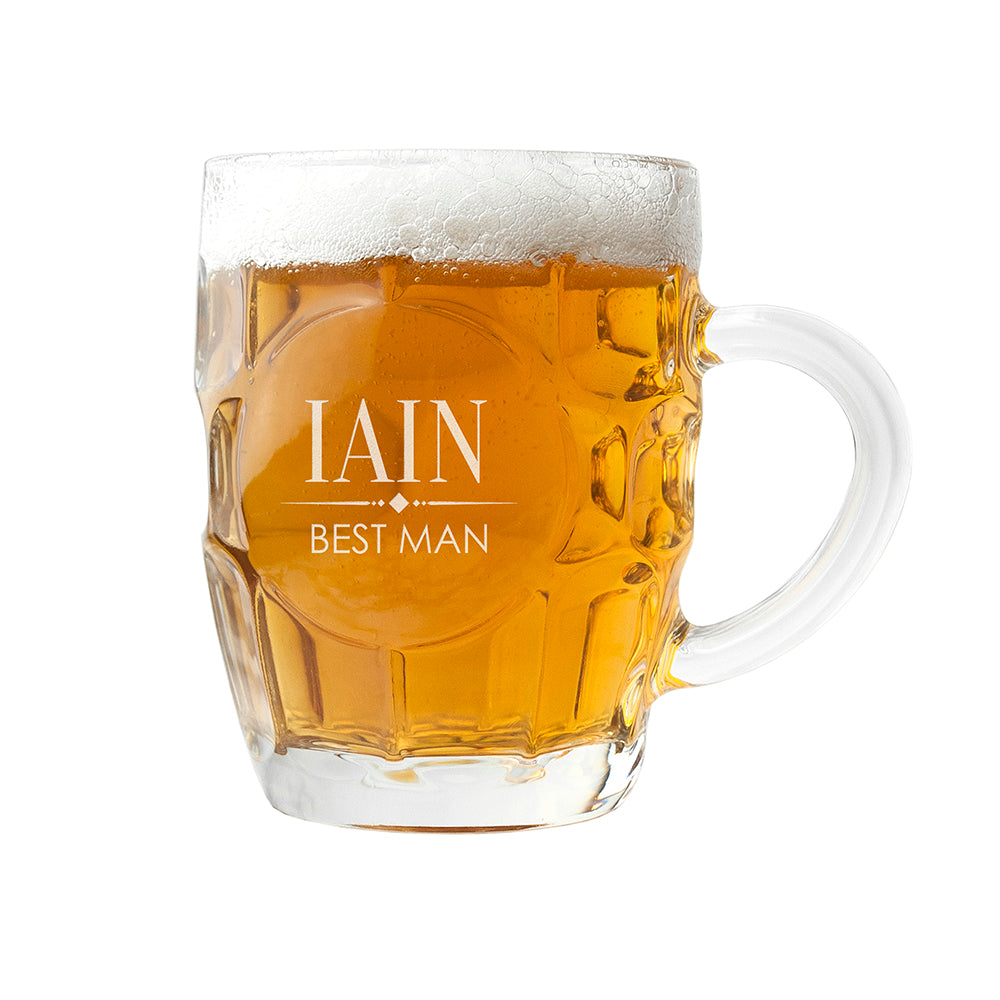 Personalised Wedding Dimpled Beer Glass - treat-republic