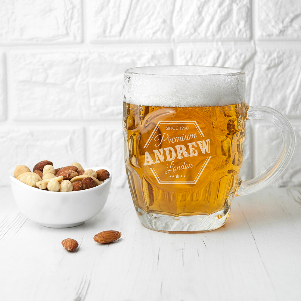 Personalised Premium Dimpled Beer Glass - treat-republic
