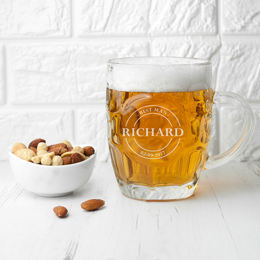 Personalised Emblem Dimpled Beer Glass - treat-republic