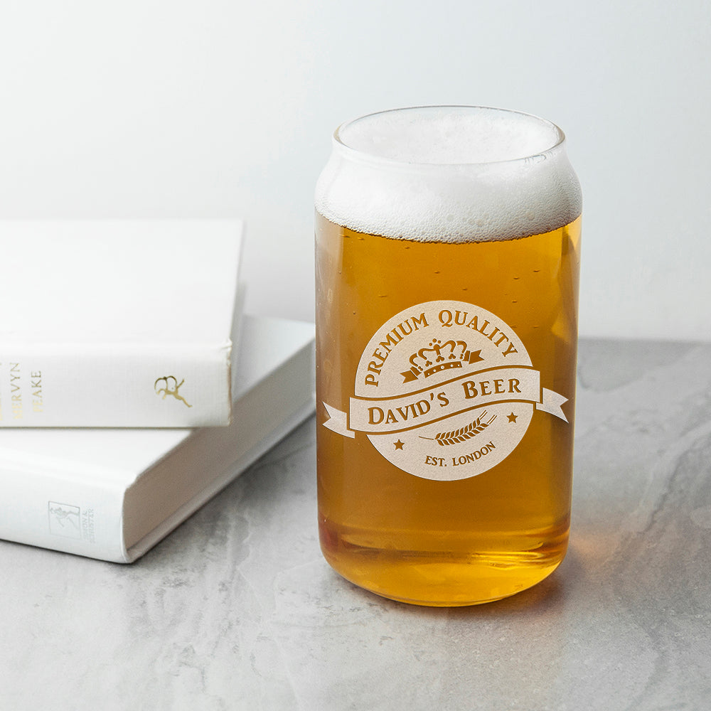 Personalised Premium Quality Beer Can Glass - treat-republic