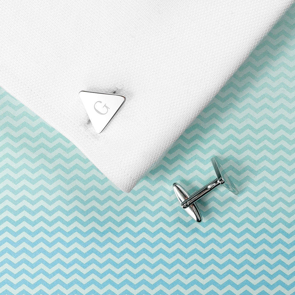 Personalised Rhodium Plated Triangle Cufflinks - treat-republic