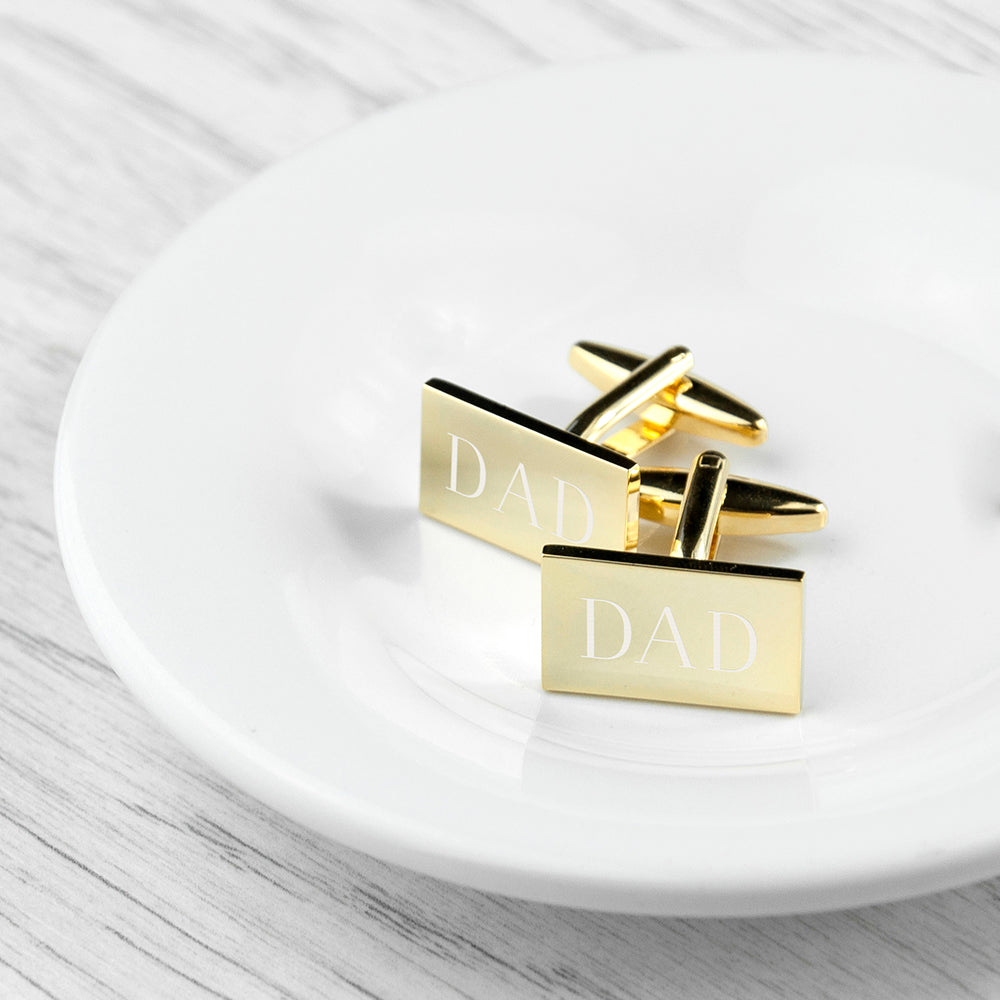 Personalised Rectangle Gold Plated Cufflinks - treat-republic