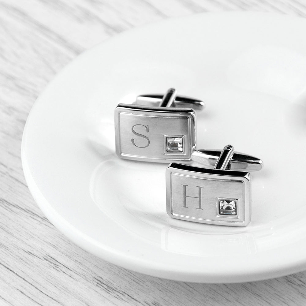 Personalised Brushed Silver Cufflinks With Crystal - treat-republic