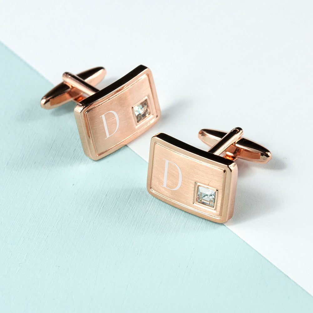 Personalised Rose Gold Plated Cufflinks With Crystal - treat-republic