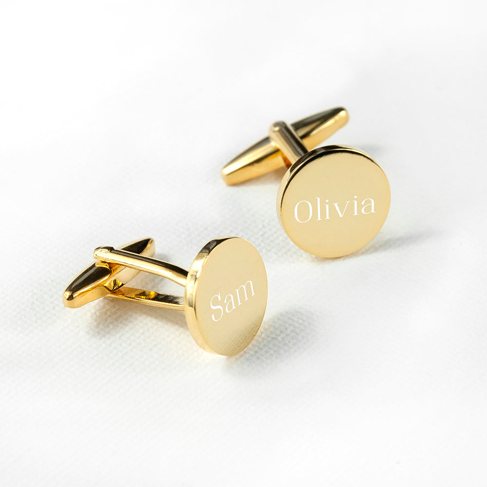 Personalised Round Gold Plated Cufflinks - treat-republic