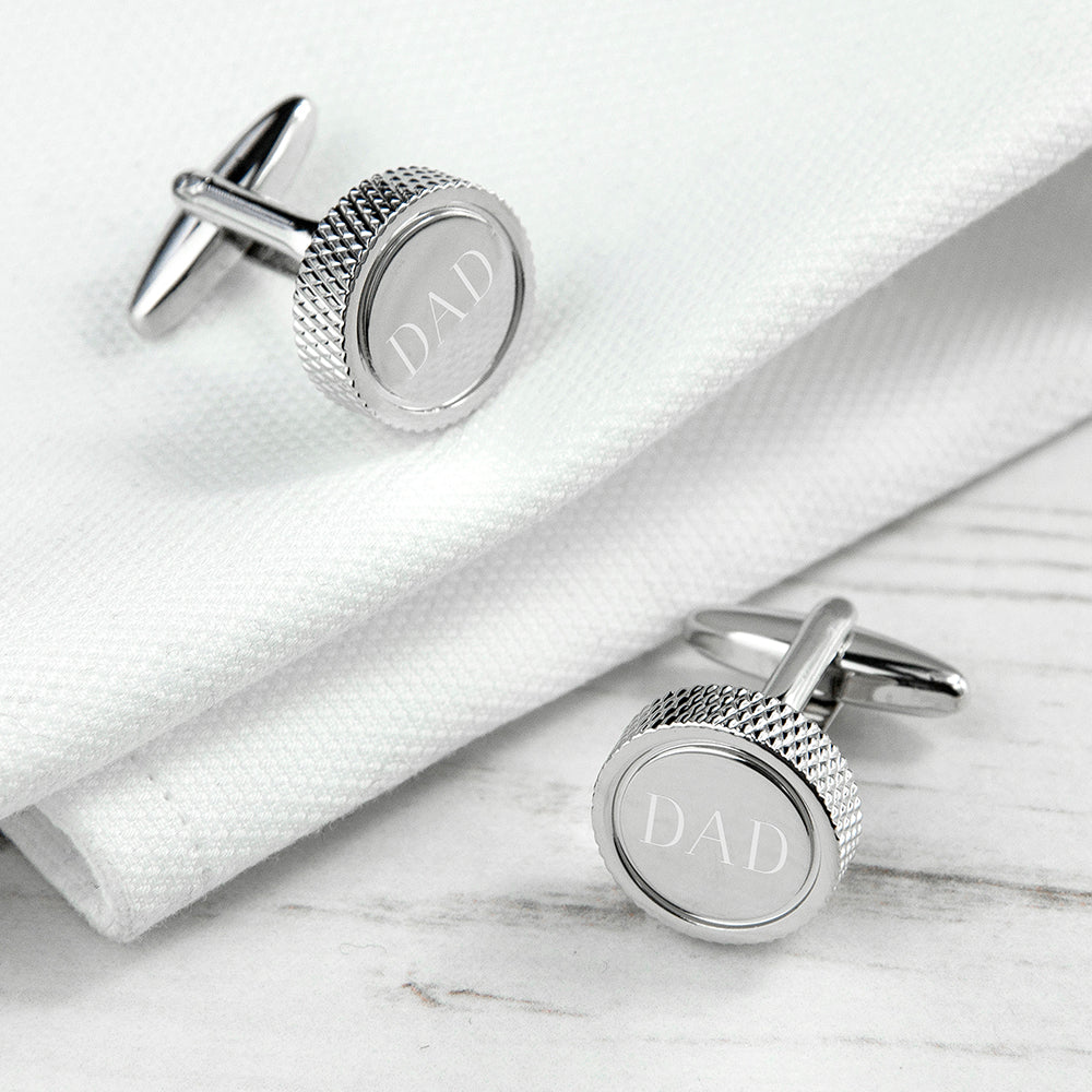 Personalised Round Rhodium Plated Cufflinks - treat-republic