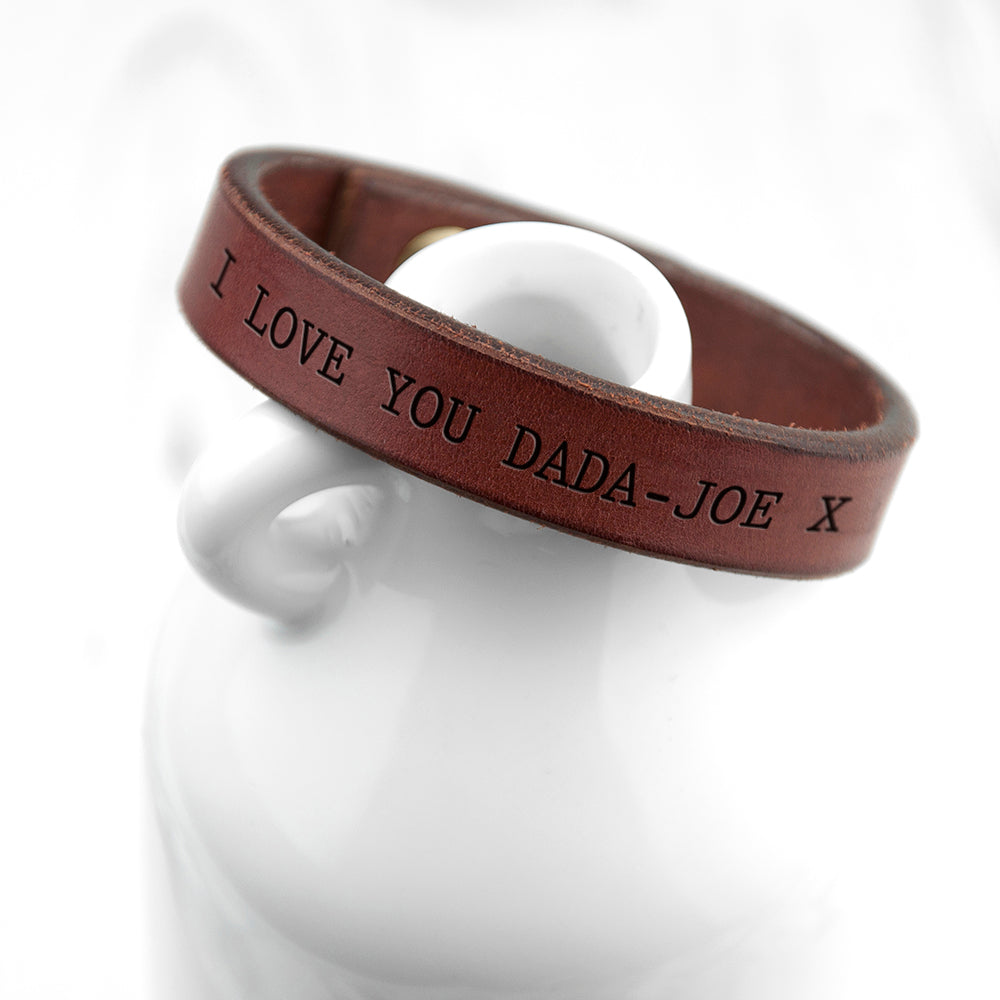 Personalised Men's Brown Leather Bracelet - treat-republic